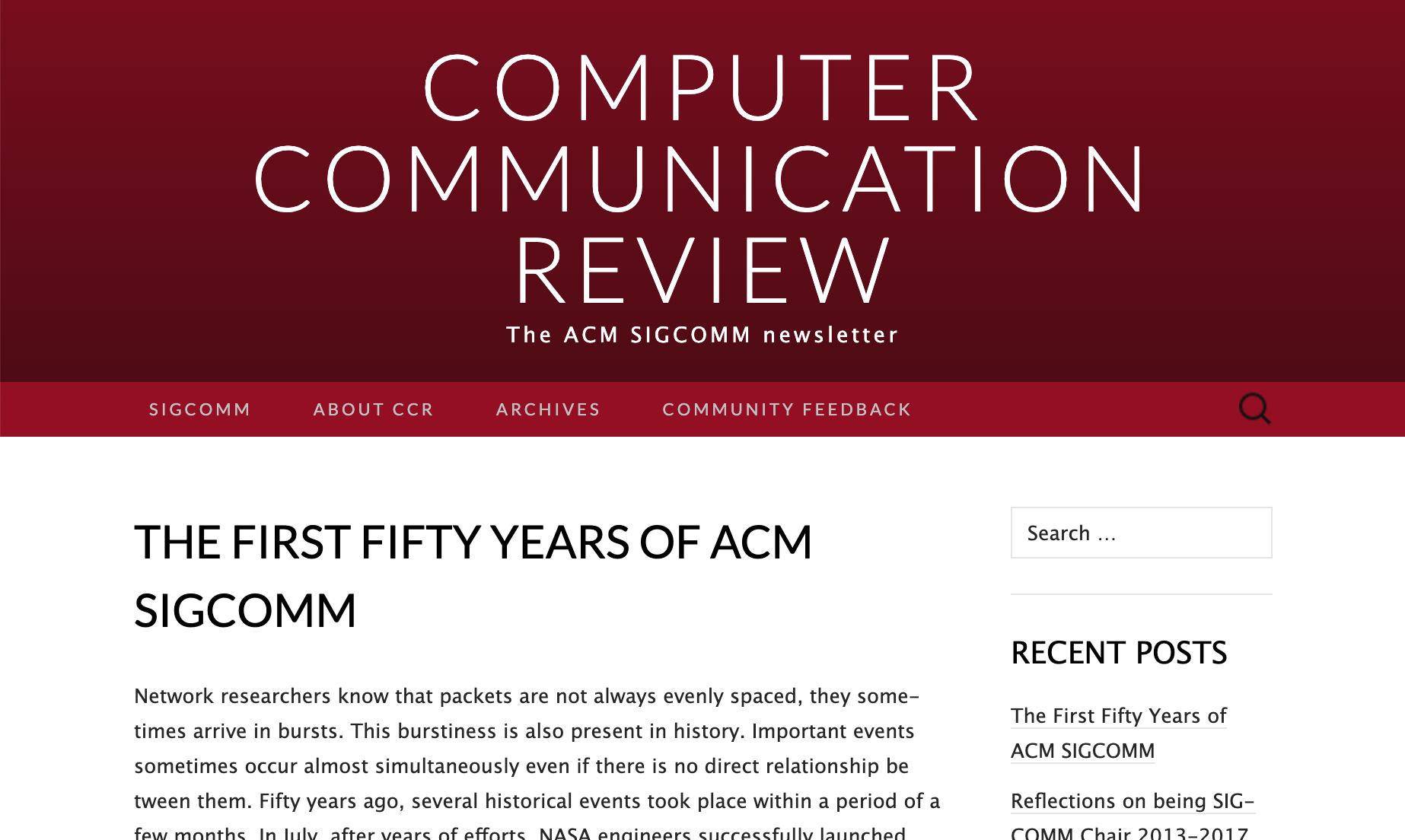 https://ccronline.sigcomm.org/2019/ccr-october-2019/the-first-fifty-years-of-acm-sigcomm/