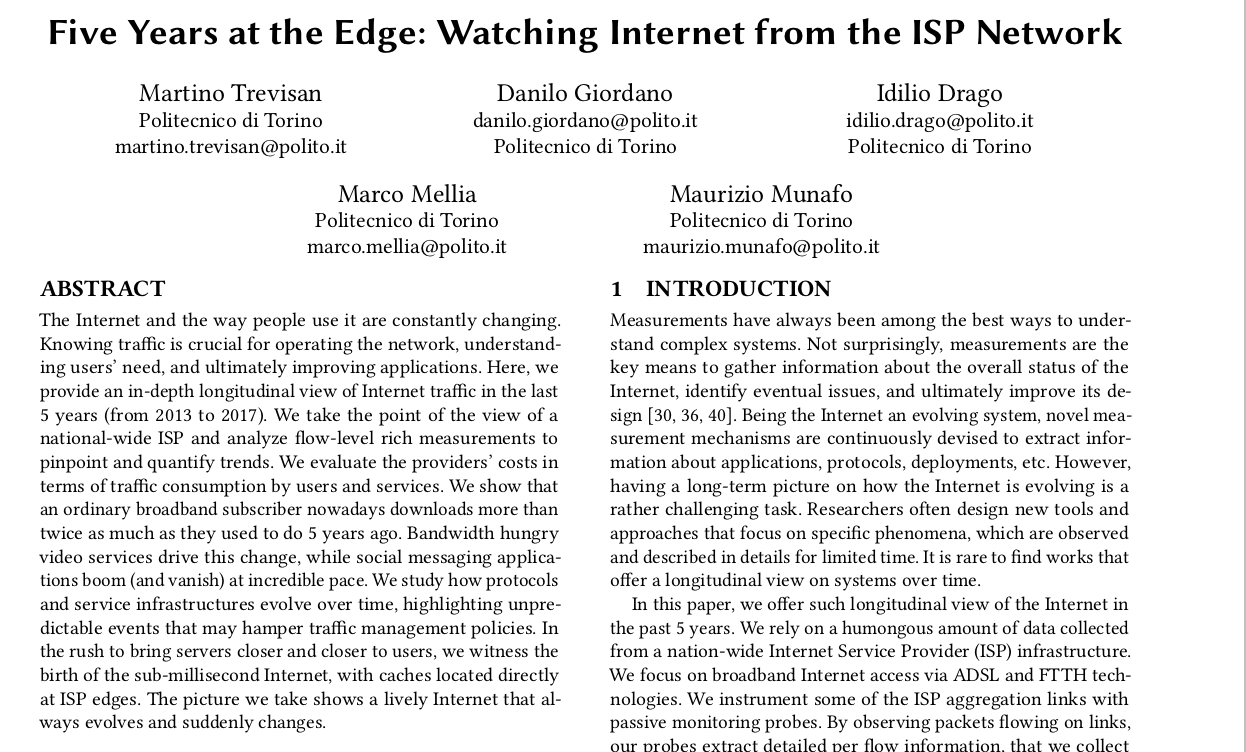 Five Years at the Edge: Watching Internet from the ISP Network
